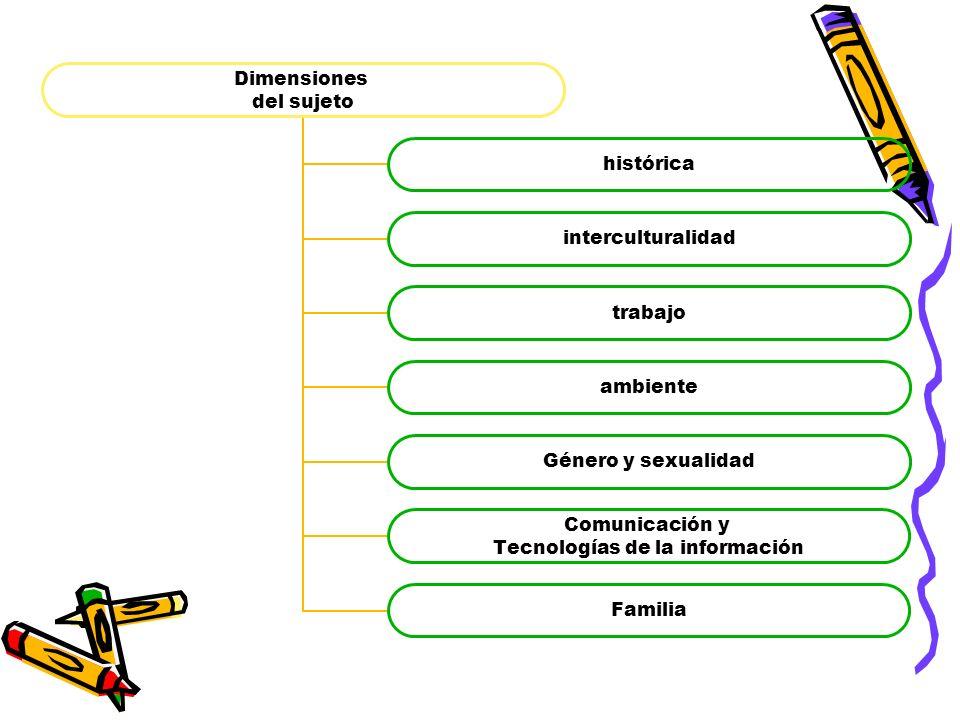 Dimensiones del sujeto histórica interculturalidad trabajo ambiente Género y sexualidad Comunicación y Tecnologías de la información Familia