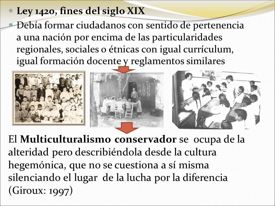 Ley 1420, fines del siglo XIX Debía formar ciudadanos con sentido de pertenencia a una nación por encima de las particularidades regionales, sociales