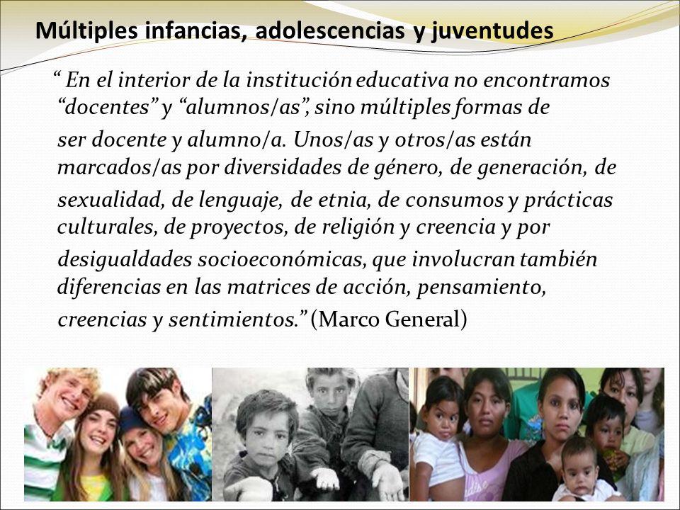 Múltiples infancias, adolescencias y juventudes En el interior de la institución educativa no encontramos docentes y alumnos/as, sino múltiples formas