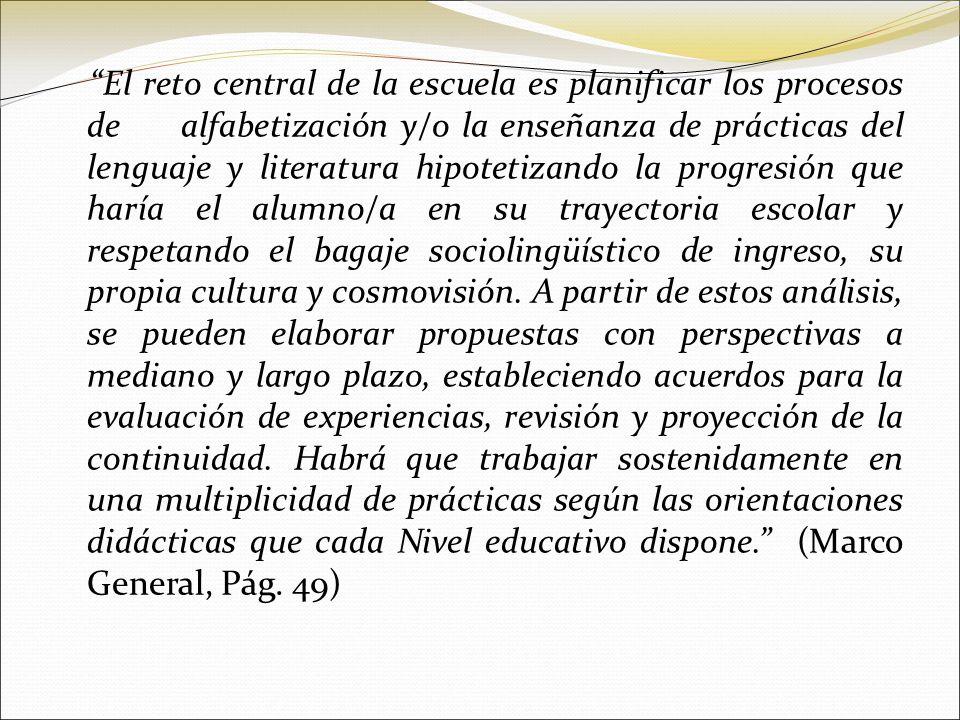 El reto central de la escuela es planificar los procesos de alfabetización y/o la enseñanza de prácticas del lenguaje y literatura hipotetizando la pr
