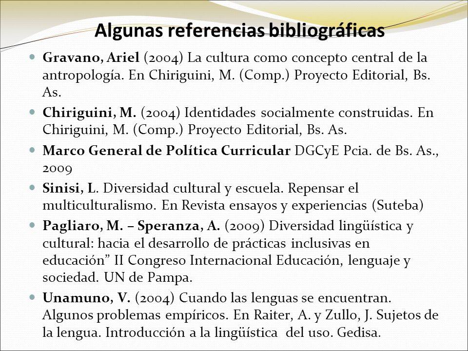 Algunas referencias bibliográficas Gravano, Ariel (2004) La cultura como concepto central de la antropología. En Chiriguini, M. (Comp.) Proyecto Edito