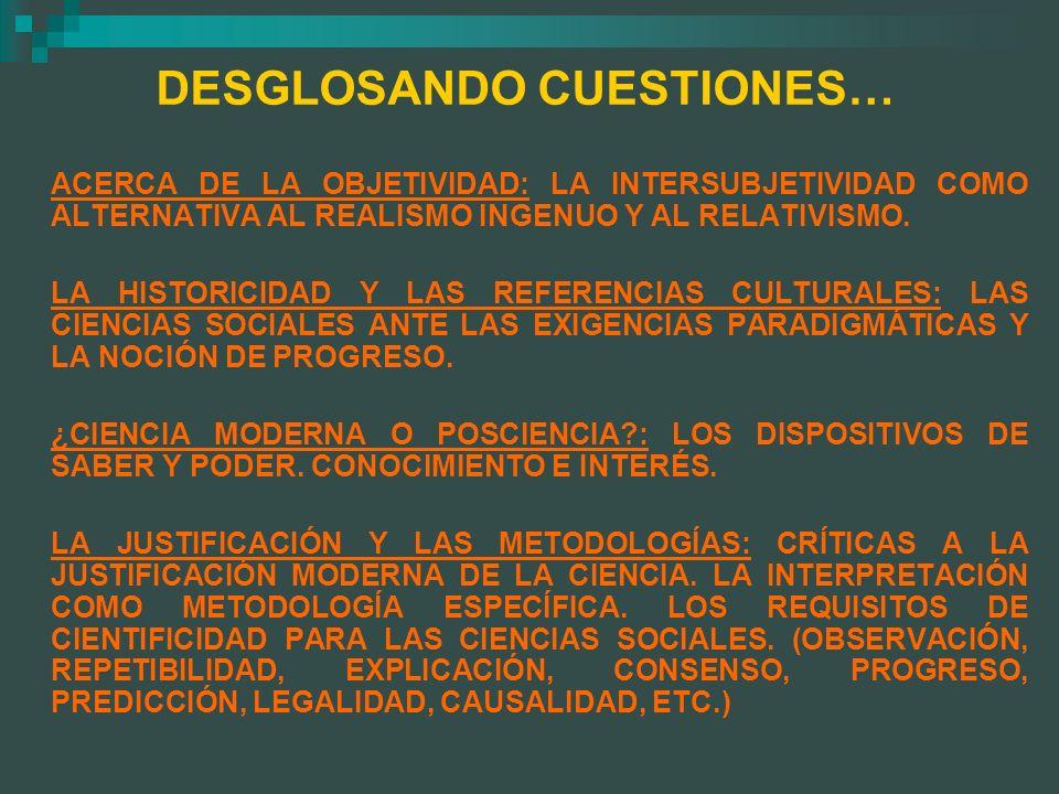 DESGLOSANDO CUESTIONES… ACERCA DE LA OBJETIVIDAD: LA INTERSUBJETIVIDAD COMO ALTERNATIVA AL REALISMO INGENUO Y AL RELATIVISMO. LA HISTORICIDAD Y LAS RE