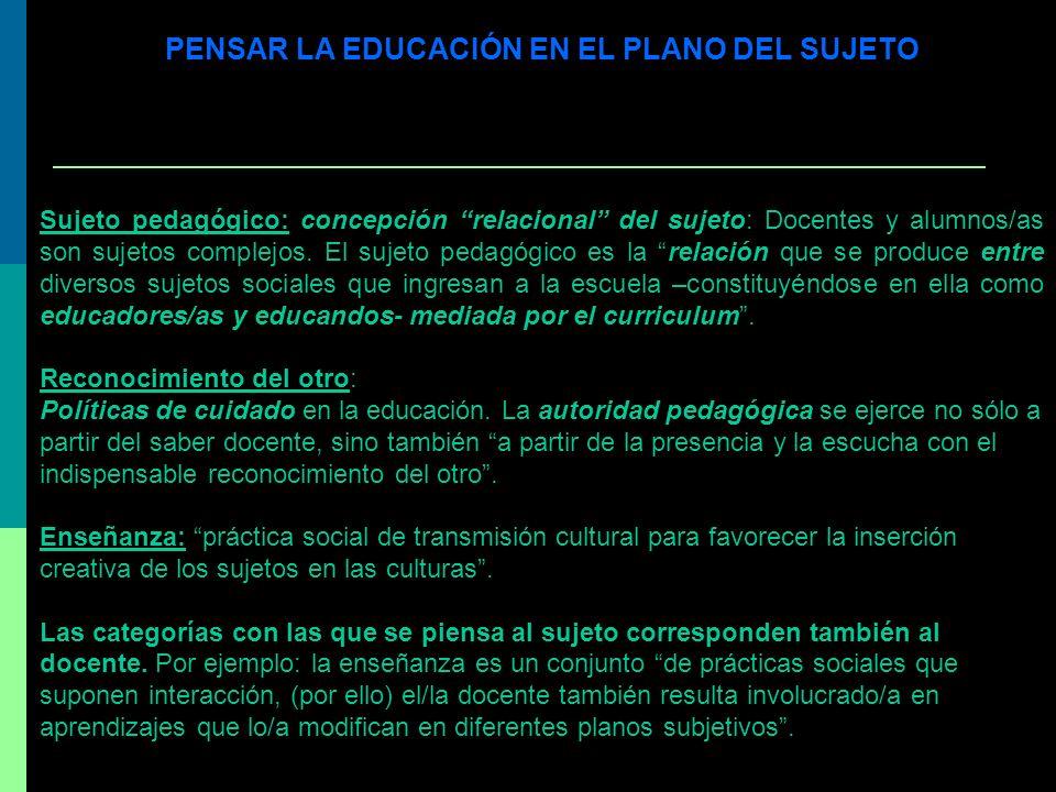 PENSAR LA EDUCACIÓN EN EL PLANO DEL SUJETO Sujeto pedagógico: concepción relacional del sujeto: Docentes y alumnos/as son sujetos complejos. El sujeto