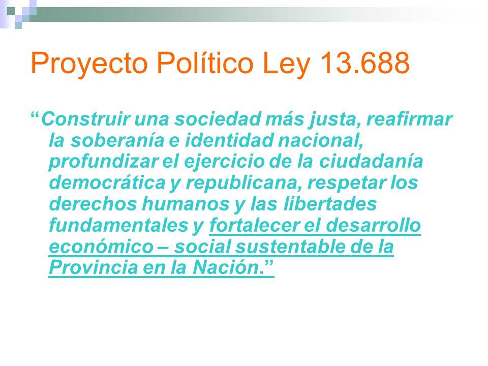 Proyecto Político Ley 13.688 Construir una sociedad más justa, reafirmar la soberanía e identidad nacional, profundizar el ejercicio de la ciudadanía