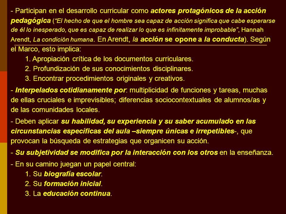 - Participan en el desarrollo curricular como actores protagónicos de la acción pedagógica (El hecho de que el hombre sea capaz de acción significa qu