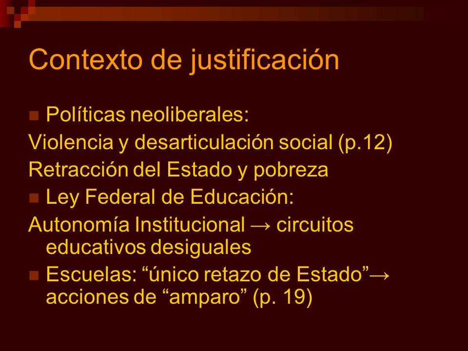 Contexto de justificación Políticas neoliberales: Violencia y desarticulación social (p.12) Retracción del Estado y pobreza Ley Federal de Educación: