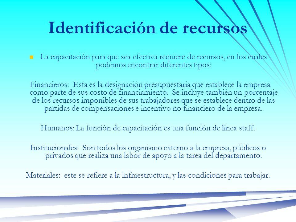 Identificación de recursos La capacitación para que sea efectiva requiere de recursos, en los cuales podemos encontrar diferentes tipos: Financieros:
