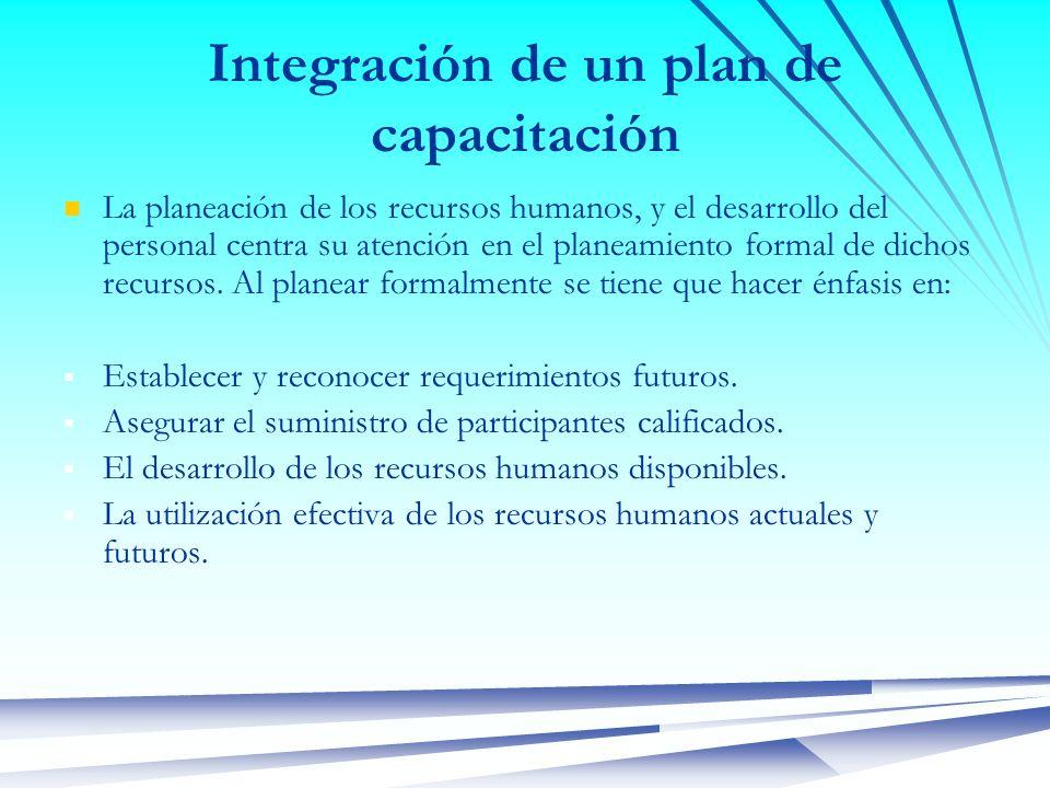 Integración de un plan de capacitación La planeación de los recursos humanos, y el desarrollo del personal centra su atención en el planeamiento forma