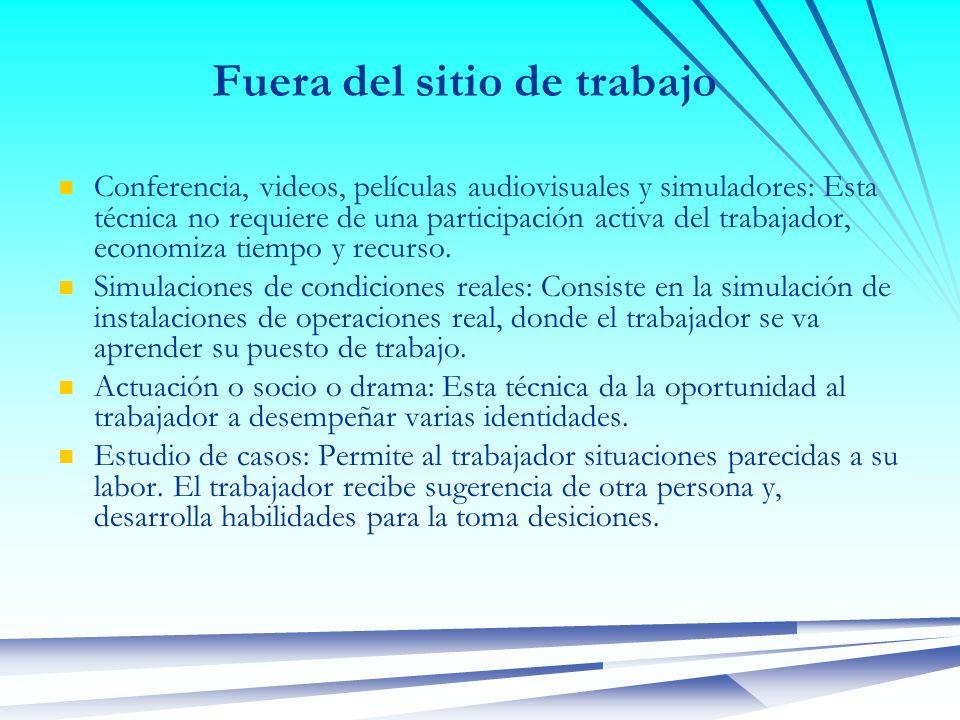 Fuera del sitio de trabajo Conferencia, videos, películas audiovisuales y simuladores: Esta técnica no requiere de una participación activa del trabaj