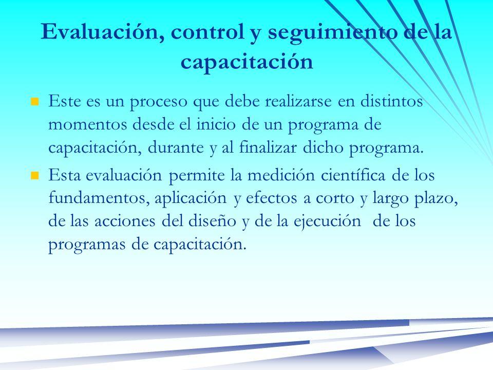 Evaluación, control y seguimiento de la capacitación Este es un proceso que debe realizarse en distintos momentos desde el inicio de un programa de ca