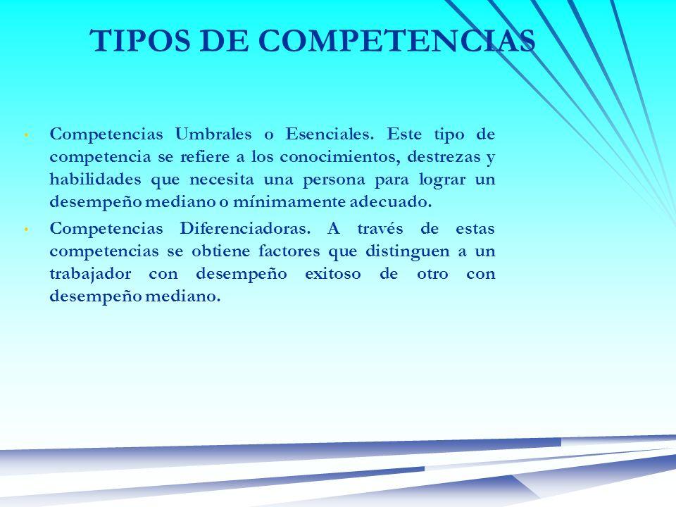 TIPOS DE COMPETENCIAS Competencias Umbrales o Esenciales. Este tipo de competencia se refiere a los conocimientos, destrezas y habilidades que necesit