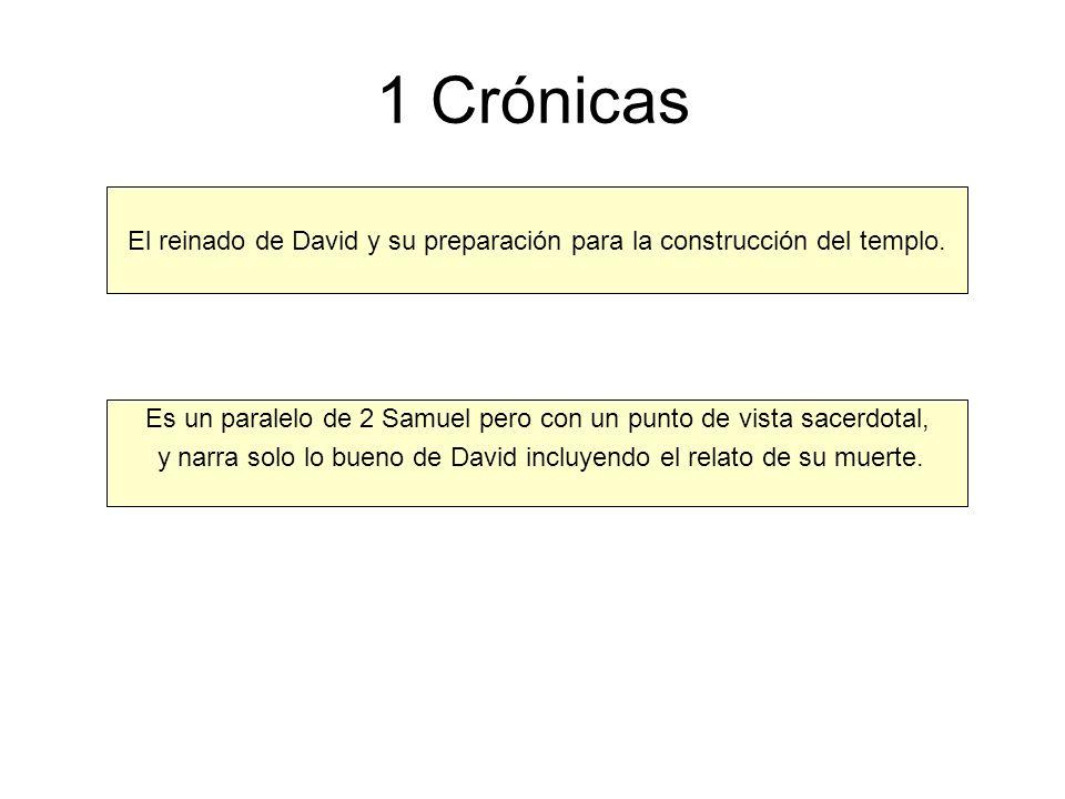 1 Crónicas El reinado de David y su preparación para la construcción del templo. Es un paralelo de 2 Samuel pero con un punto de vista sacerdotal, y n