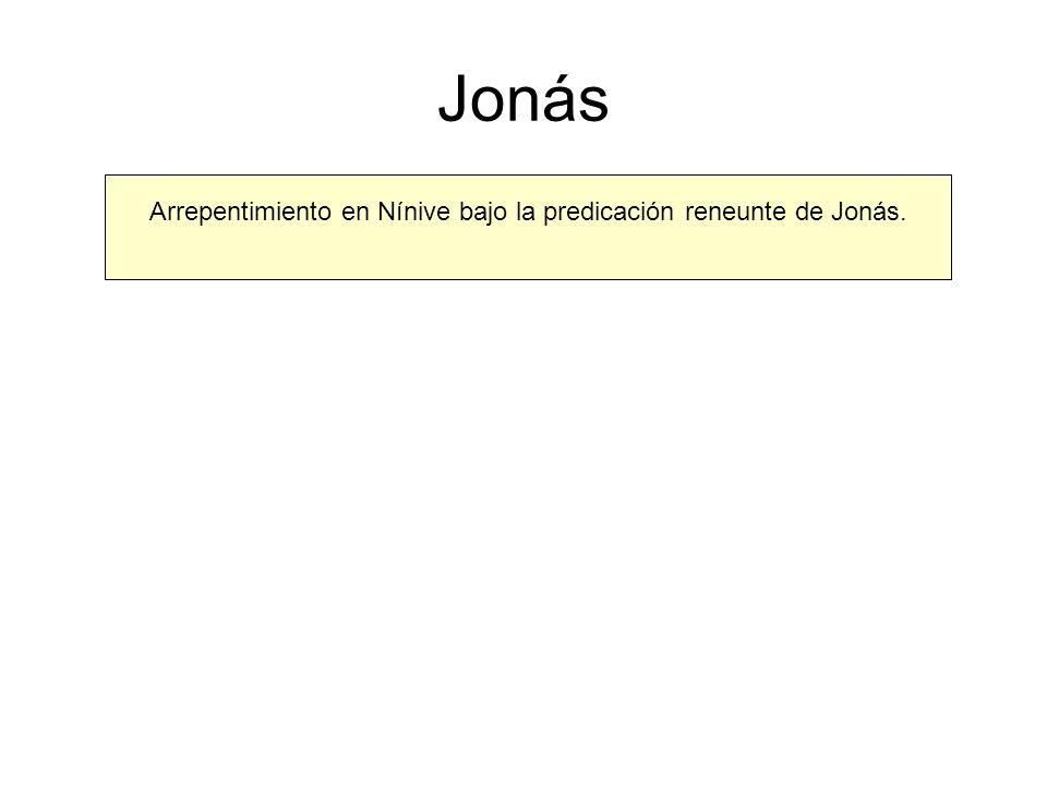 Jonás Arrepentimiento en Nínive bajo la predicación reneunte de Jonás.