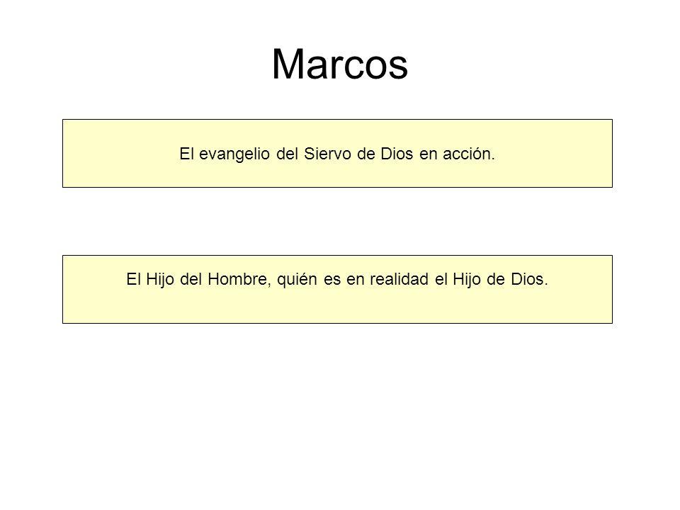 Marcos El evangelio del Siervo de Dios en acción. El Hijo del Hombre, quién es en realidad el Hijo de Dios.