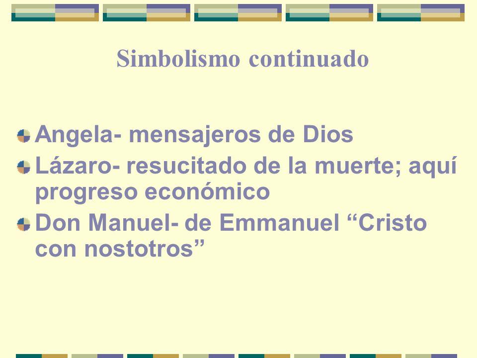 Angela- mensajeros de Dios Lázaro- resucitado de la muerte; aquí progreso económico Don Manuel- de Emmanuel Cristo con nostotros Simbolismo continuado