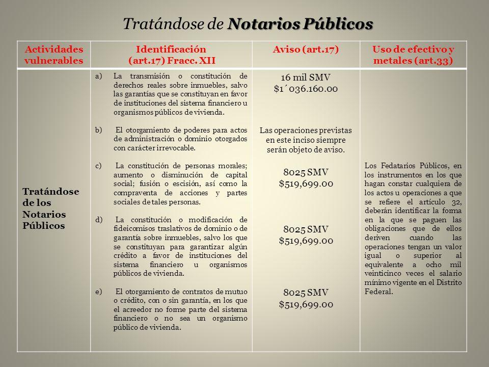 Notarios Públicos Tratándose de Notarios Públicos Actividades vulnerables Identificación (art.17) Fracc. XII Aviso (art.17)Uso de efectivo y metales (