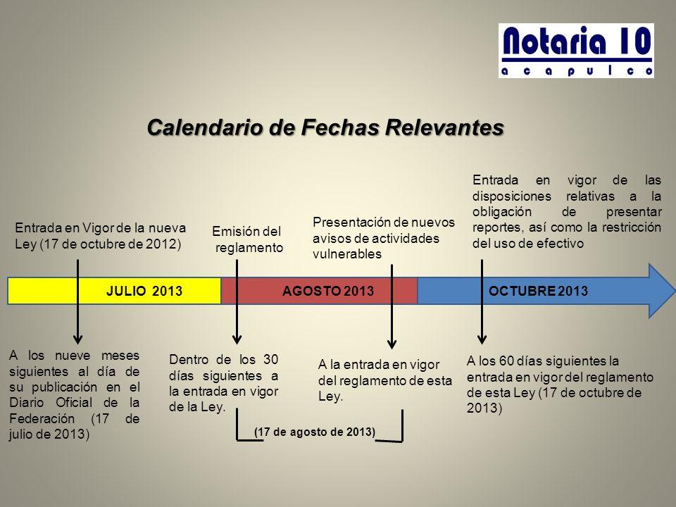 Calendario de Fechas Relevantes JULIO 2013 AGOSTO 2013 OCTUBRE 2013 Entrada en Vigor de la nueva Ley (17 de octubre de 2012) Emisión del reglamento Pr