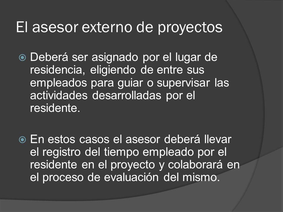 El asesor externo de proyectos Deberá ser asignado por el lugar de residencia, eligiendo de entre sus empleados para guiar o supervisar las actividades desarrolladas por el residente.