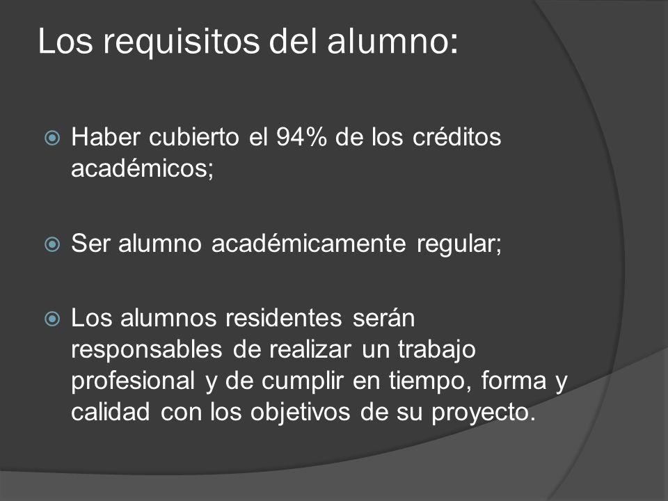 Los requisitos del alumno: Haber cubierto el 94% de los créditos académicos; Ser alumno académicamente regular; Los alumnos residentes serán responsables de realizar un trabajo profesional y de cumplir en tiempo, forma y calidad con los objetivos de su proyecto.