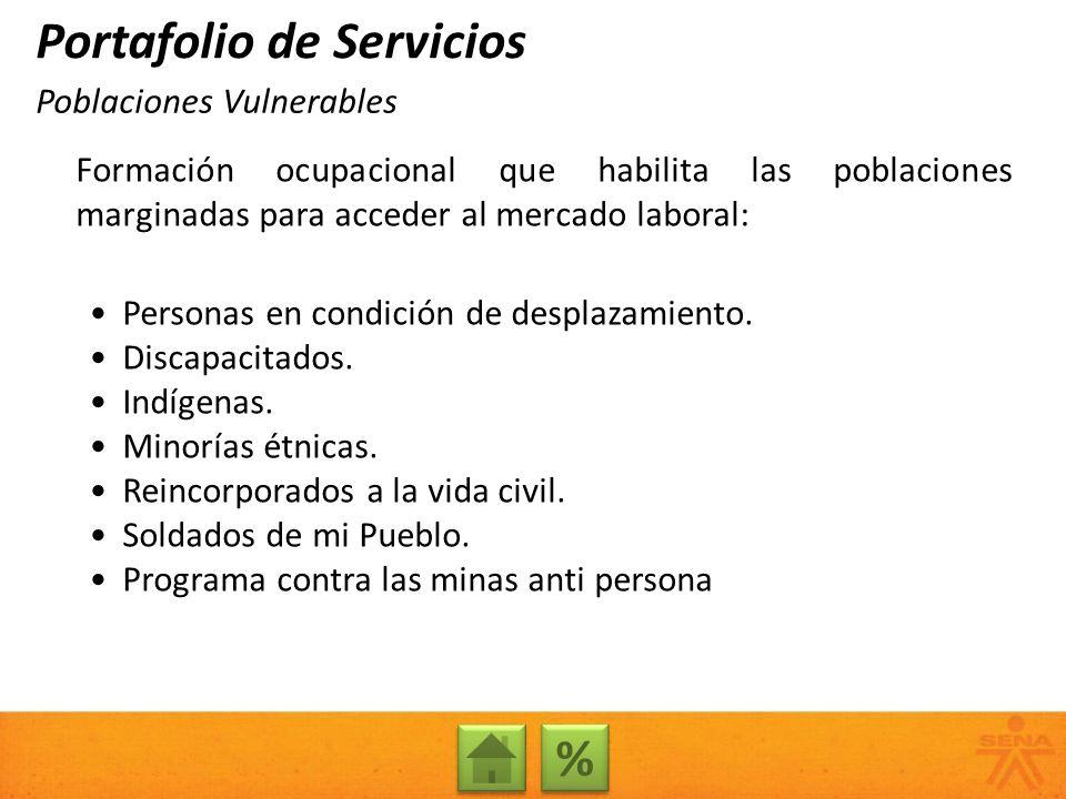 Formación ocupacional que habilita las poblaciones marginadas para acceder al mercado laboral: Personas en condición de desplazamiento. Discapacitados
