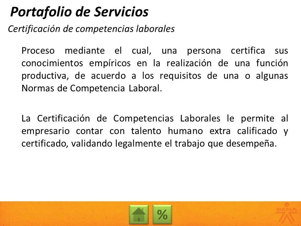 Certificación de competencias laborales Proceso mediante el cual, una persona certifica sus conocimientos empíricos en la realización de una función p
