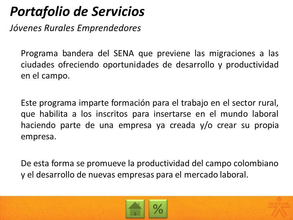 Programa bandera del SENA que previene las migraciones a las ciudades ofreciendo oportunidades de desarrollo y productividad en el campo. Este program