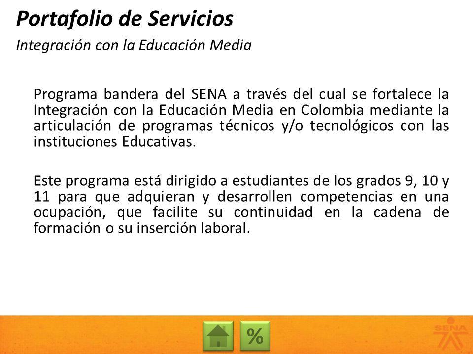 Programa bandera del SENA a través del cual se fortalece la Integración con la Educación Media en Colombia mediante la articulación de programas técni