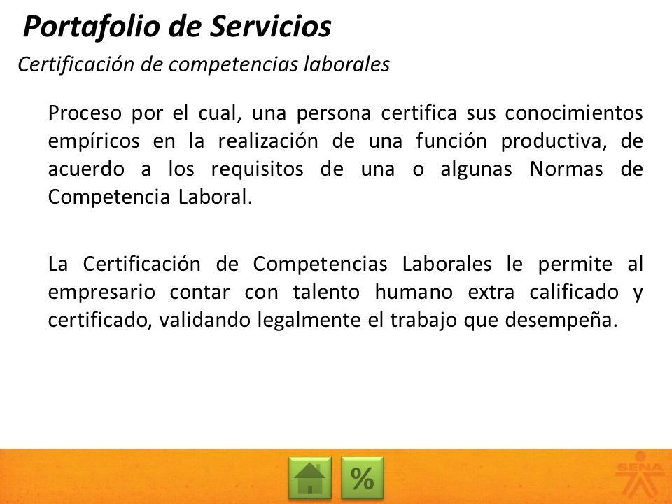 Certificación de competencias laborales Proceso por el cual, una persona certifica sus conocimientos empíricos en la realización de una función produc
