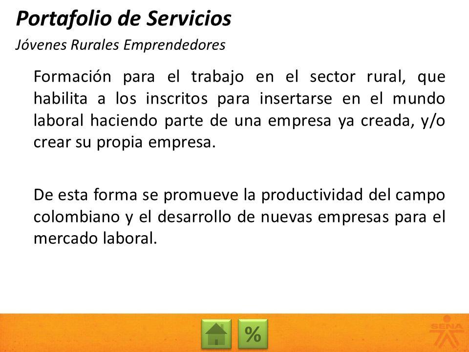 Formación para el trabajo en el sector rural, que habilita a los inscritos para insertarse en el mundo laboral haciendo parte de una empresa ya creada