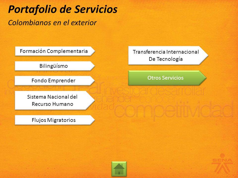 Formación Complementaria Bilingüísmo Otros Servicios Transferencia Internacional De Tecnología Transferencia Internacional De Tecnología Flujos Migrat