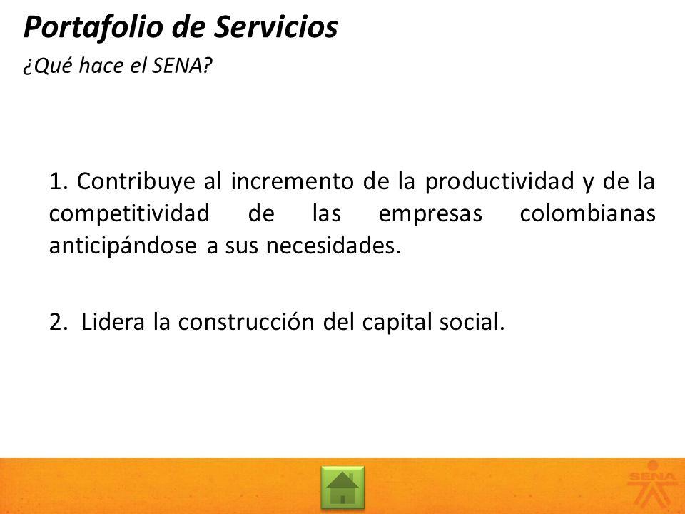 ¿Qué hace el SENA? 1. Contribuye al incremento de la productividad y de la competitividad de las empresas colombianas anticipándose a sus necesidades.