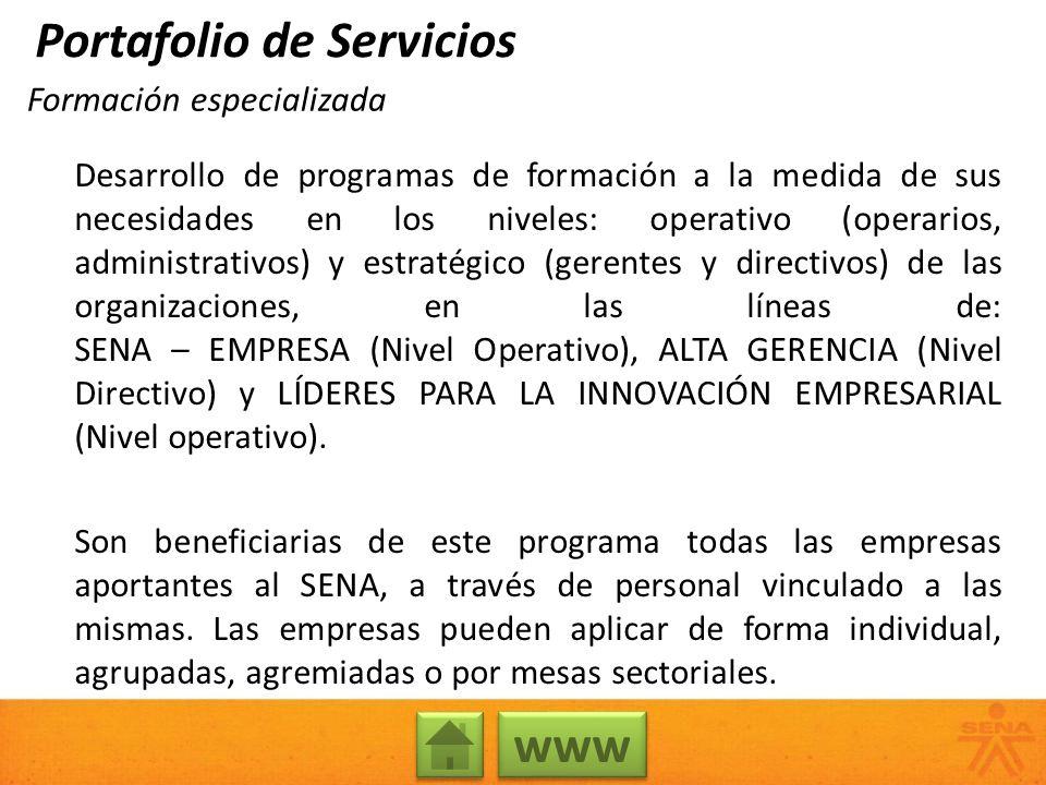 Formación especializada Desarrollo de programas de formación a la medida de sus necesidades en los niveles: operativo (operarios, administrativos) y e