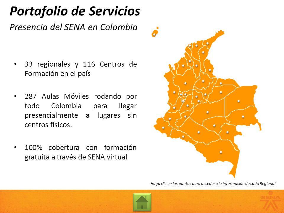 Presencia del SENA en Colombia Portafolio de Servicios 33 regionales y 116 Centros de Formación en el país 287 Aulas Móviles rodando por todo Colombia