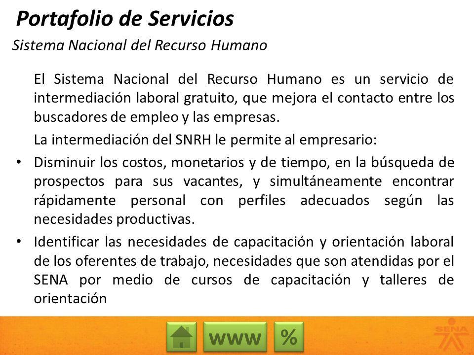 Sistema Nacional del Recurso Humano El Sistema Nacional del Recurso Humano es un servicio de intermediación laboral gratuito, que mejora el contacto e