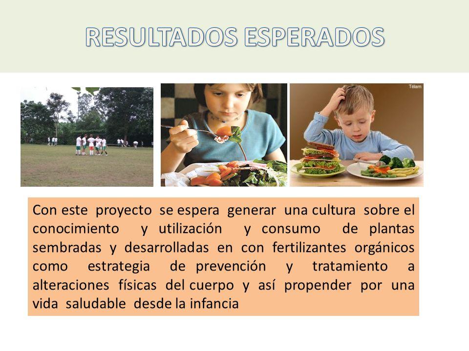 Con este proyecto se espera generar una cultura sobre el conocimiento y utilización y consumo de plantas sembradas y desarrolladas en con fertilizante