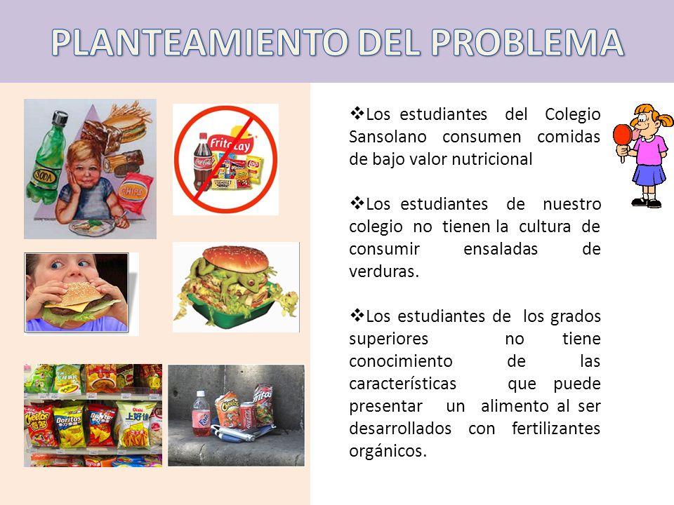 Los estudiantes del Colegio Sansolano consumen comidas de bajo valor nutricional Los estudiantes de nuestro colegio no tienen la cultura de consumir e