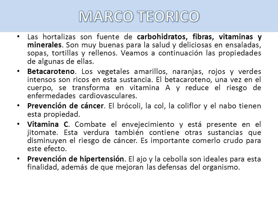 Las hortalizas son fuente de carbohidratos, fibras, vitaminas y minerales. Son muy buenas para la salud y deliciosas en ensaladas, sopas, tortillas y