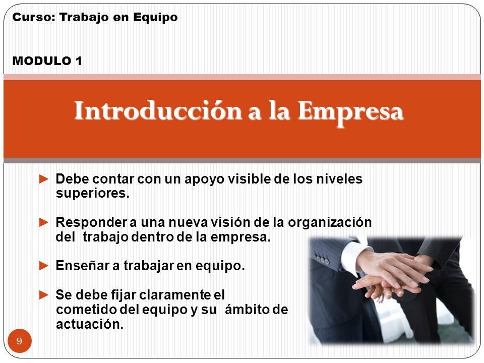 Curso: Trabajo en Equipo MODULO 1 8 Justificación Un equipo de Trabajo se justifica cuando hay: Trabajo muy complejo, que afecta a distintas especialidades profesionales.