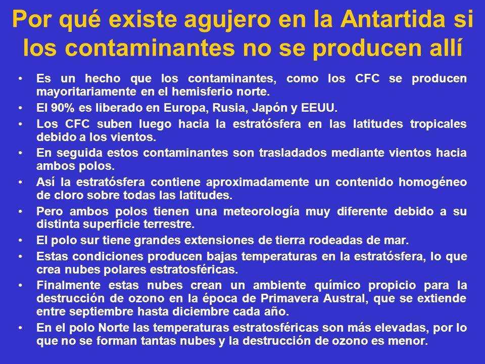 Por qué existe agujero en la Antartida si los contaminantes no se producen allí Es un hecho que los contaminantes, como los CFC se producen mayoritari