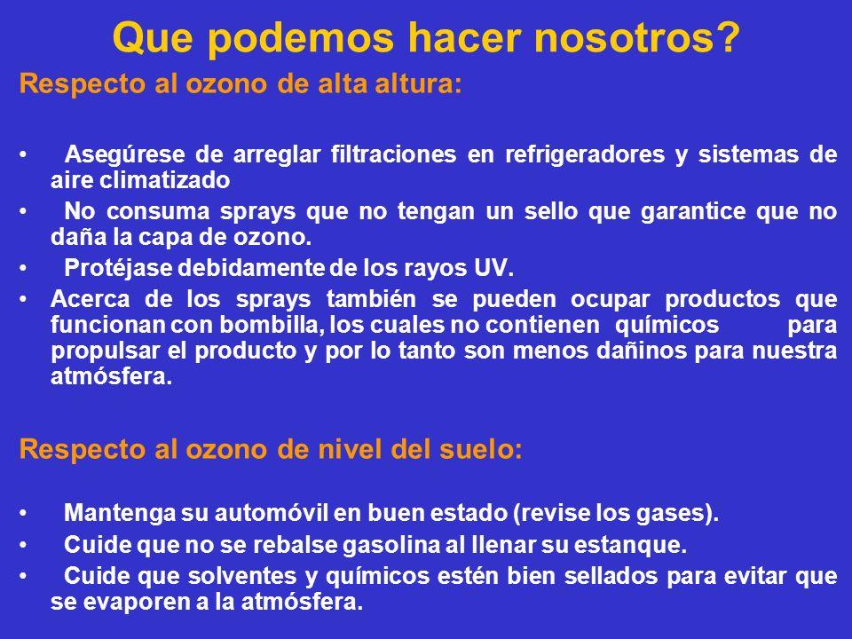 Que podemos hacer nosotros? Respecto al ozono de alta altura: Asegúrese de arreglar filtraciones en refrigeradores y sistemas de aire climatizado No c