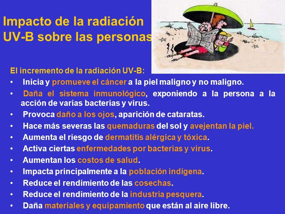Impacto de la radiación UV-B sobre las personas El incremento de la radiación UV-B: Inicia y promueve el cáncer a la piel maligno y no maligno. Daña e