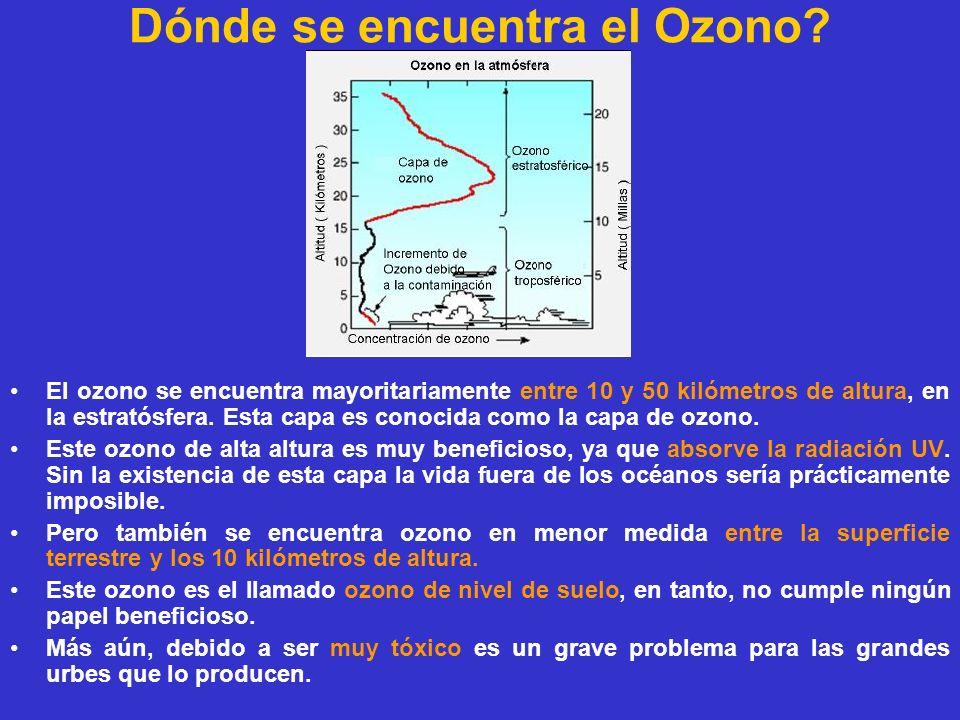 Dónde se encuentra el Ozono? El ozono se encuentra mayoritariamente entre 10 y 50 kilómetros de altura, en la estratósfera. Esta capa es conocida como