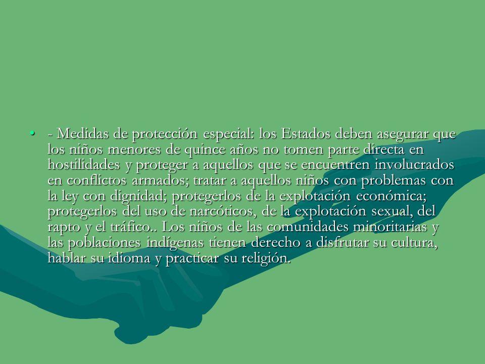 - Derechos y libertades civiles: todos los niños tienen derecho a un nombre y una nacionalidad; libertad de expresión; libertad de pensamiento, conciencia y religión; libertad de asociación.