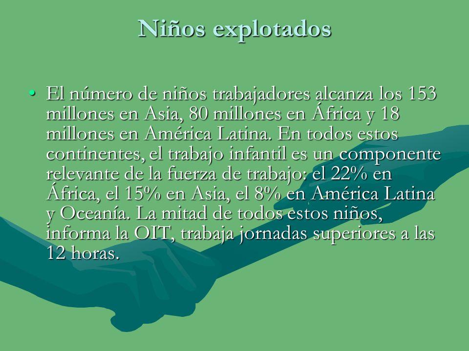 La explotaciones El trabajo doméstico de los niños no ha sido incluido en esta estimación debido a su naturaleza oculta y, en consecuencia, los estadígrafos de la OIT aceptan que el verdadero número puede ser mucho más alto .La anterior estimación de la OIT, de 1995, calculaba el número de niños trabajadores en 73 millones.