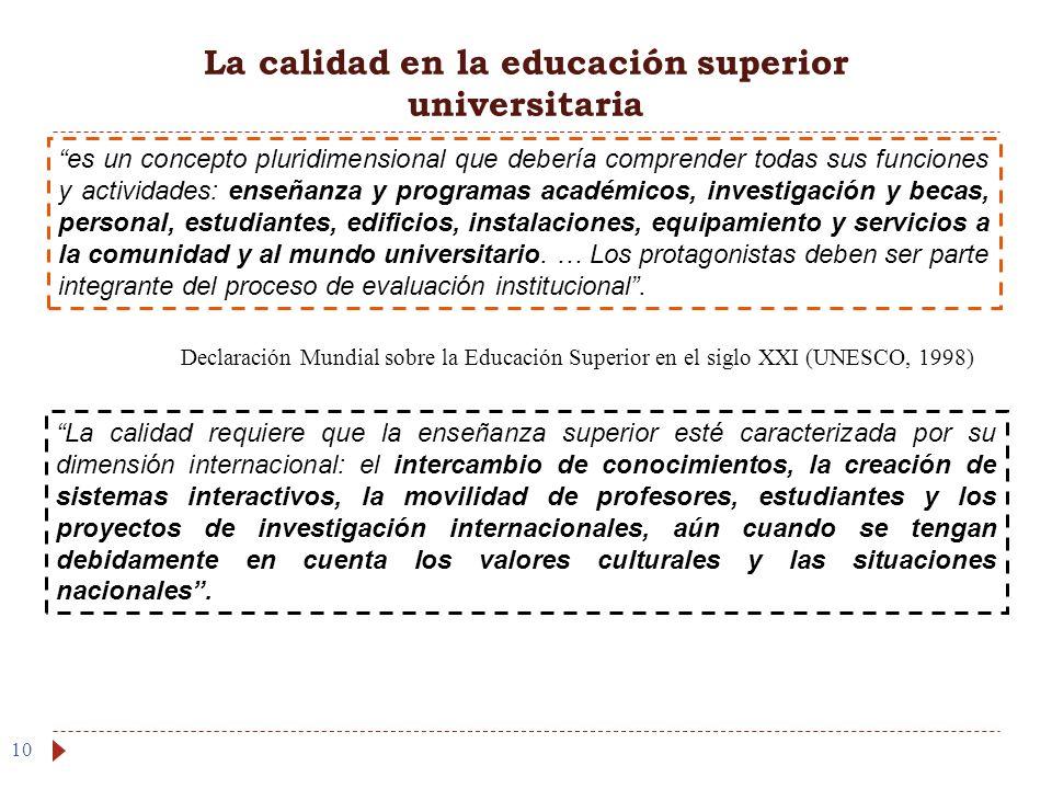 La calidad en la educación superior universitaria 10 es un concepto pluridimensional que debería comprender todas sus funciones y actividades: enseñan