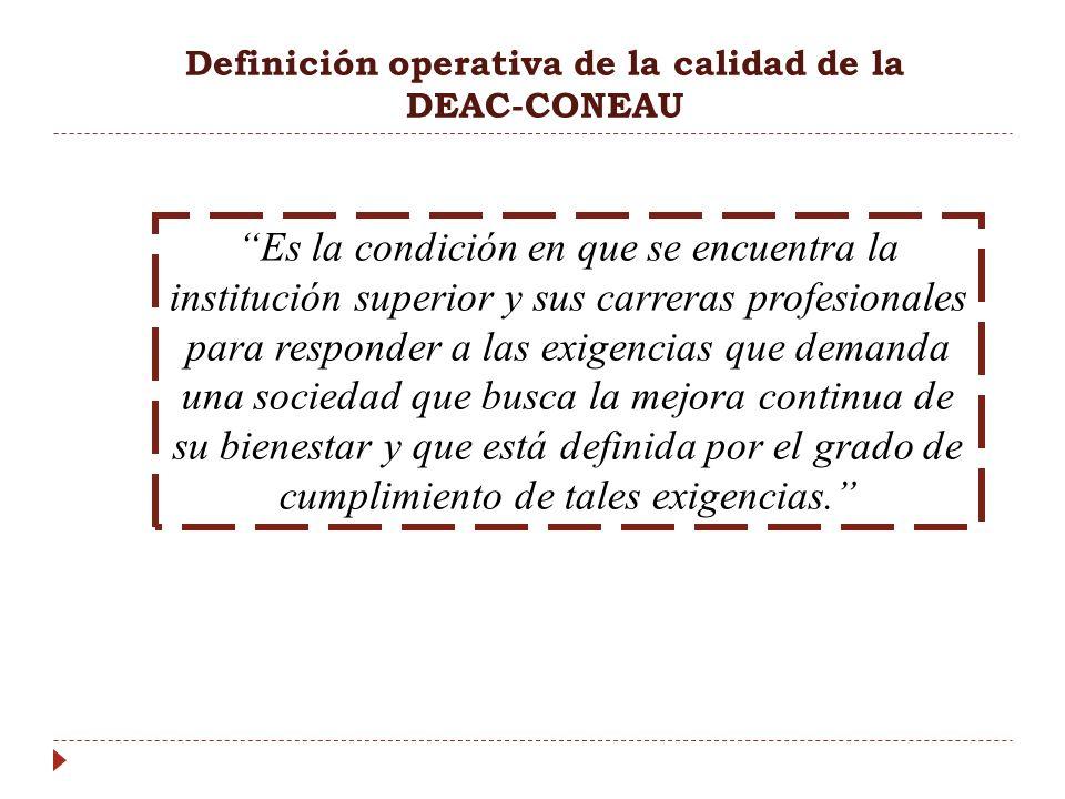 Definición operativa de la calidad de la DEAC-CONEAU Es la condición en que se encuentra la institución superior y sus carreras profesionales para res