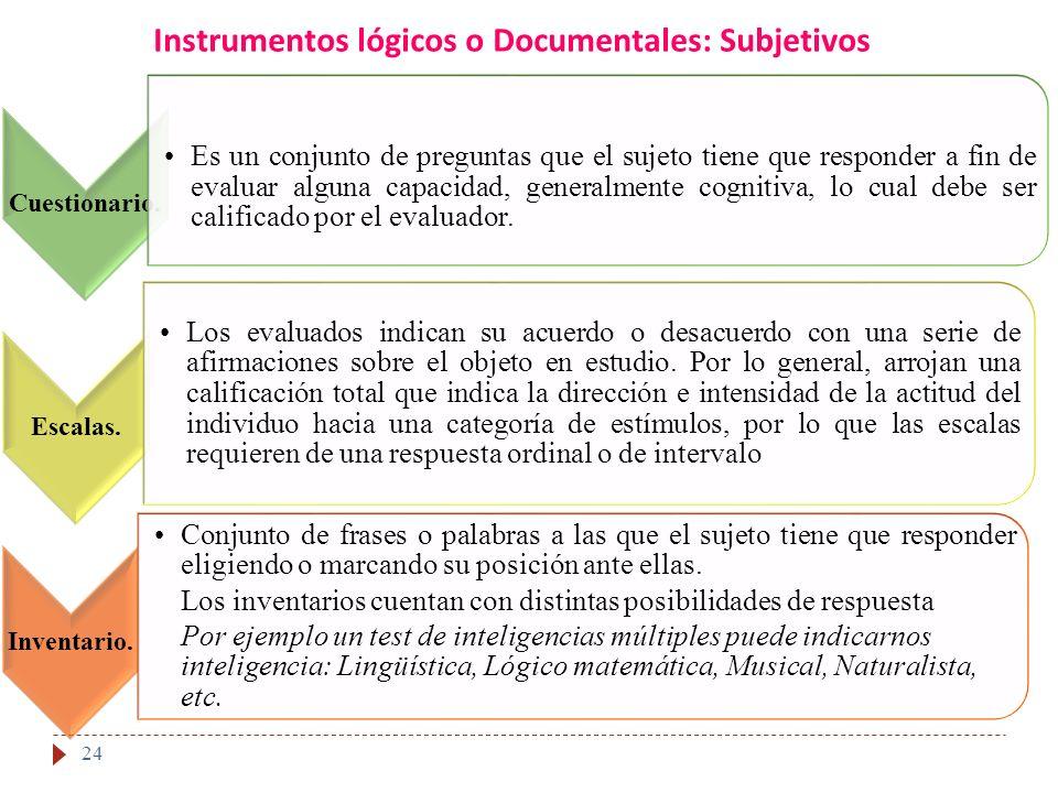 Instrumentos lógicos o Documentales: Subjetivos 24