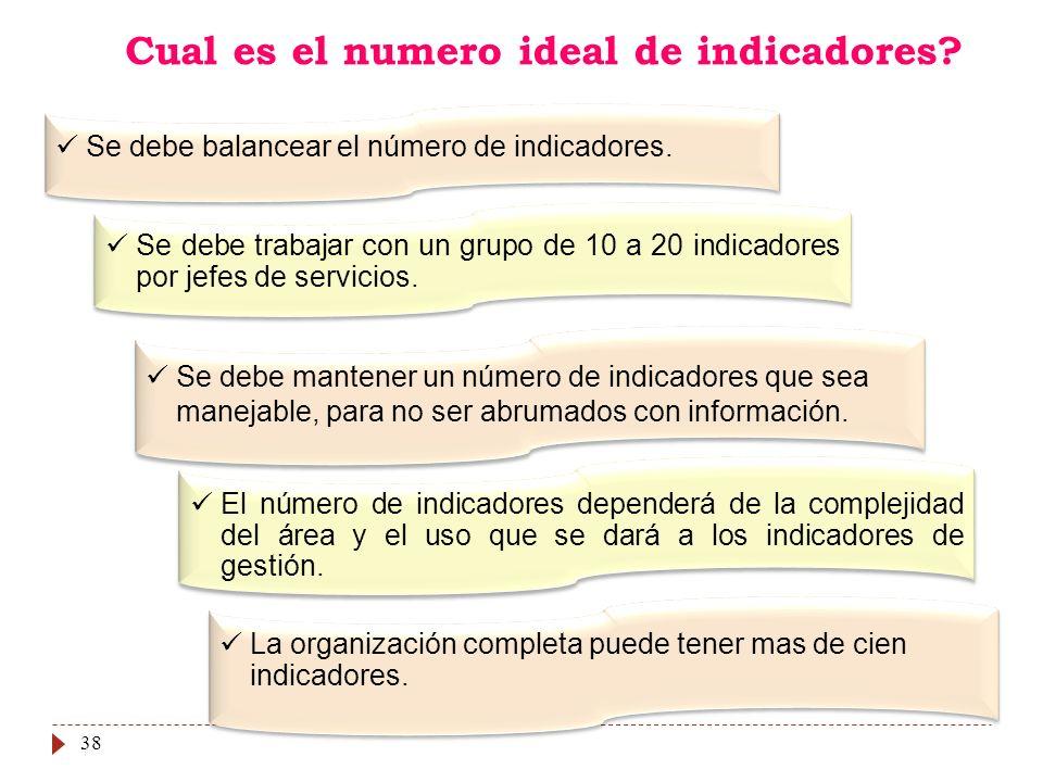 38 Cual es el numero ideal de indicadores? Se debe balancear el número de indicadores. Se debe trabajar con un grupo de 10 a 20 indicadores por jefes