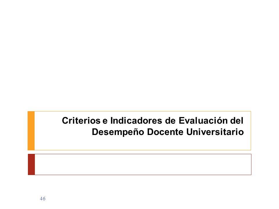 46 Criterios e Indicadores de Evaluación del Desempeño Docente Universitario