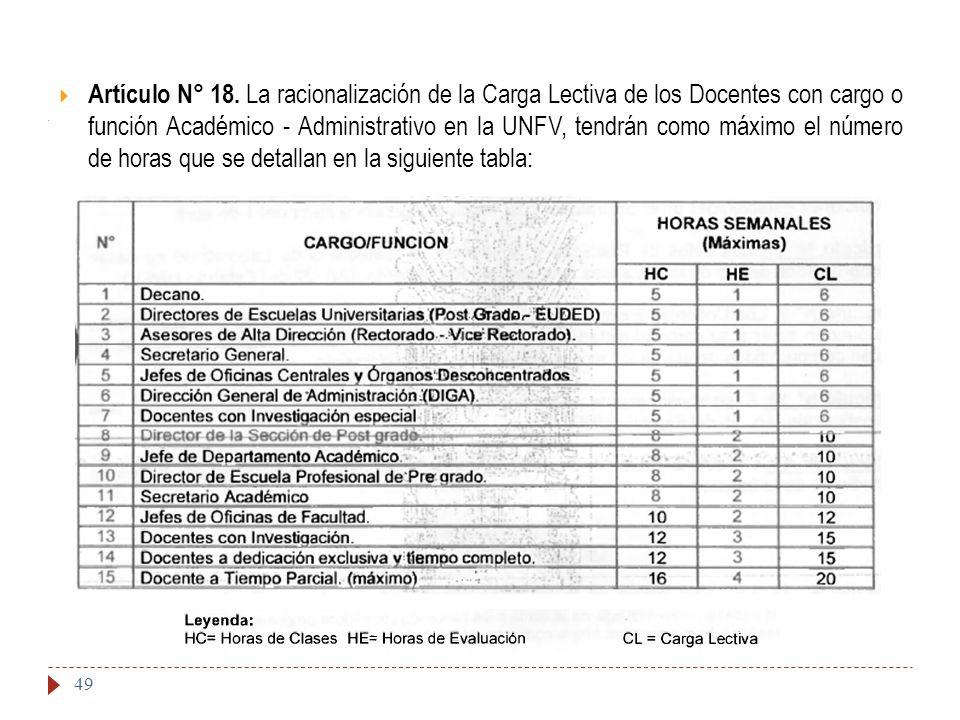 Artículo N° 18. La racionalización de la Carga Lectiva de los Docentes con cargo o función Académico - Administrativo en la UNFV, tendrán como máximo